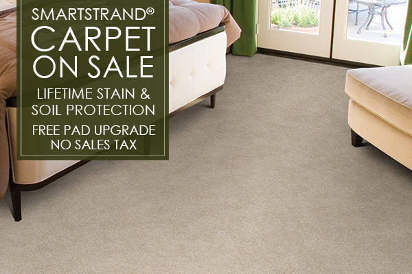 Smartstrand Carpet on sale now! Get lifetime stain and soil protection as well as a free pad upgrade. Plus no sales tax! Come visit our showroom in Liverpool, California!